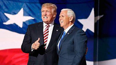 Mike Pence, junto a Donald Trump, en la Convención Republicana