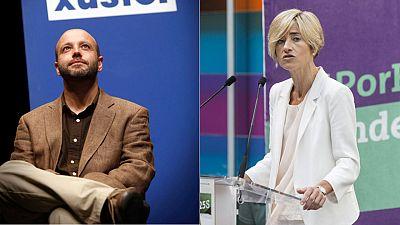 El candidato de En Marea a la presidencia de la Xunta gallega, Luis Villares (I) y la candidata a lehendakari de Elkarrekin Podemos, Pili Zabala.