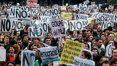 """Una de las primeras manifestaciones de """"Rodea el Congreso"""" convocadas en 2012 por la Coordinadora 25S"""