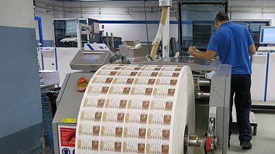 Impresión de Lotería de Navidad en la Fábrica Nacional de Moneda y Timbre