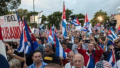 El exilio cubano despide a Fidel Castro en el barrio Pequeña Habana, en Miami, Estados Unidos.