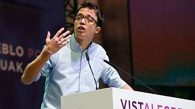 El secretario político de Podemos, Íñigo Errejón, durante su intervención al inicio de la primera jornada de la Asamblea Ciudadana Estatal de Vistalegre II en Madrid.