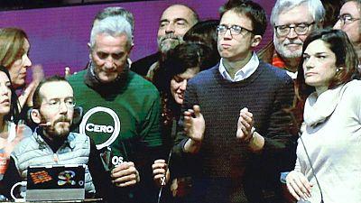 Algunos de los miembros del nuevo Consejo Ciudadano Estatal de Podemos tras la II Asamblea Ciudadana de Vistalegre II.