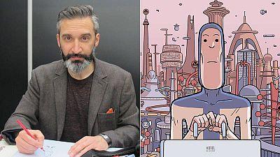Lucas Varela y fragmento de la portada de 'El día más largo'