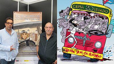 Mauricio Vicent y Juan Padrón y detalle de la portada de 'Crónicas de la Habana'