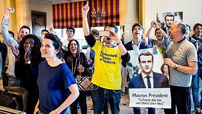 Votantes de Macron en Suiza celebran la victori del candidato de ¡En Marcha!