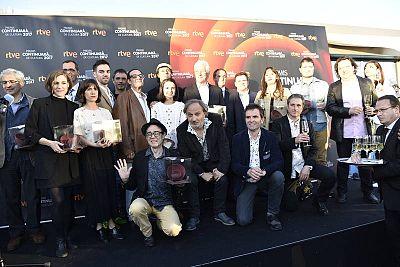 Foto de família de la festa dels premis 'Continuarà 2017'