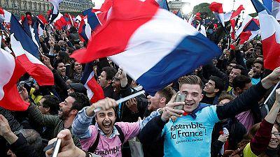 Partidarios de Emmanuel Macron celebran la victoria