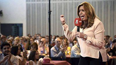 Susana Díaz, en un mitin de precampaña en Huesca