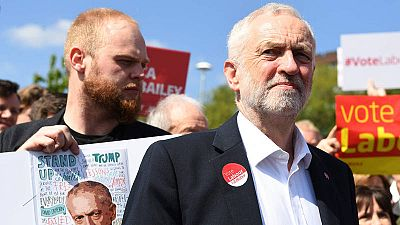 El líder laborista británico, Jeremy Corbyn, en Salford, noroeste de Inglaterra, tras el arranque de campaña
