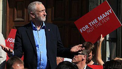 Jeremy Corbyn, líder del Partido Laborista, durante un mitin en York
