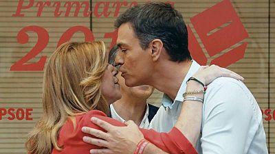 Sánchez y Díaz se saludan en el debate a tres tras nueve meses sin hablar.