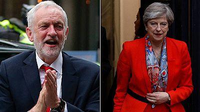 Imagen de Jeremy Corbyn y Theresa May, tras las elecciones en Reino Unido