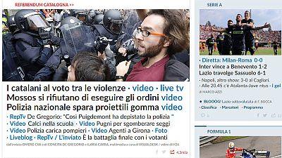 La Repubblica informa sobre las cargas policiales y la inaccion de los Mossos a ejecutar las órdenes judiciales
