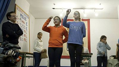 Imagen de archivo de los ensayos de los niños de San Ildefonso para la Lotería de Navidad.