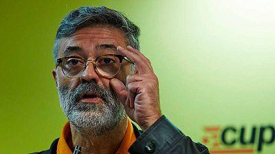 El nuevo cabeza de lista de la CUP al 21-D, Carles Riera, durante una comparecencia reciente ante los medios