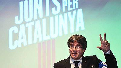 Puigdemont presenta en Bélgica la candidatura de Junts per Catalunya.