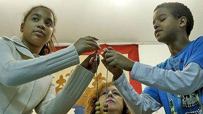 Los niños de San Ildefonso durante el ensayo del sorteo de Lotería de Navidad