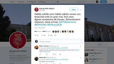 Imagen del tuit de la Casa Real felicitando a la selección española
