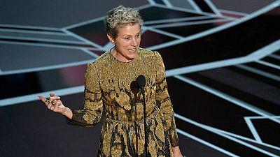 Frances McDormand agradeciendo el Oscar a la Mejor Actriz