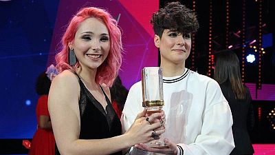 """Cláudia Pascoal e Isaura, cantante y copositoras de la canción """"O jardim"""". El tema de Portugal en Eurovisión 2018"""