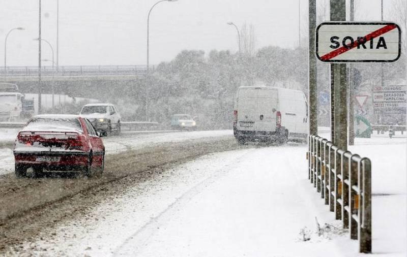 Imagen de la ciudad de Soria durante las intensas nevadas caídas en Castilla León.