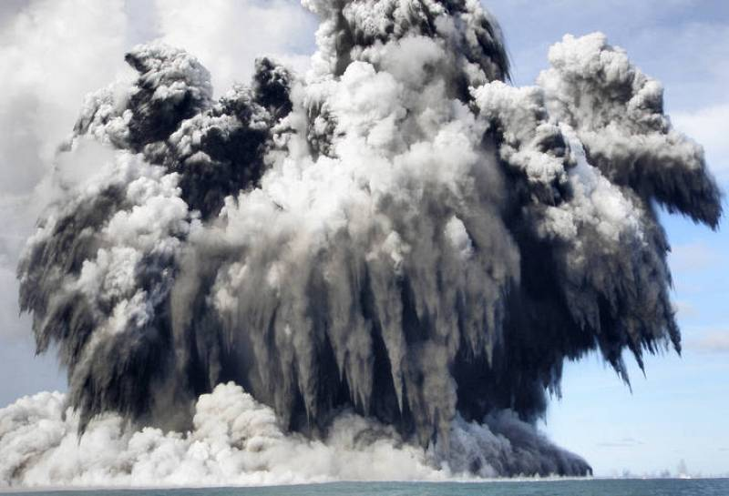 Smoke is seen after an underwater volcano erupted in Hunga Ha'apai