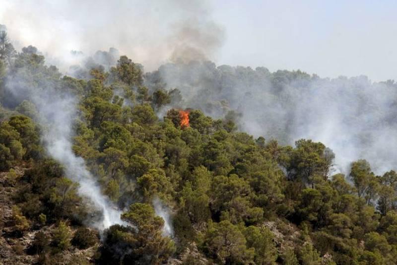 Vista de las llamas del incendio originado en la tarde del domingo en las inmediaciones de Cala Benirràs, en Ibiza.