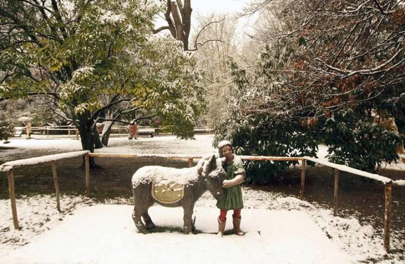Una de las figuras del belén del parque de La Florida en Vitoria, cubierta de nieve tras la bajada de temperaturas de la pasada noche.