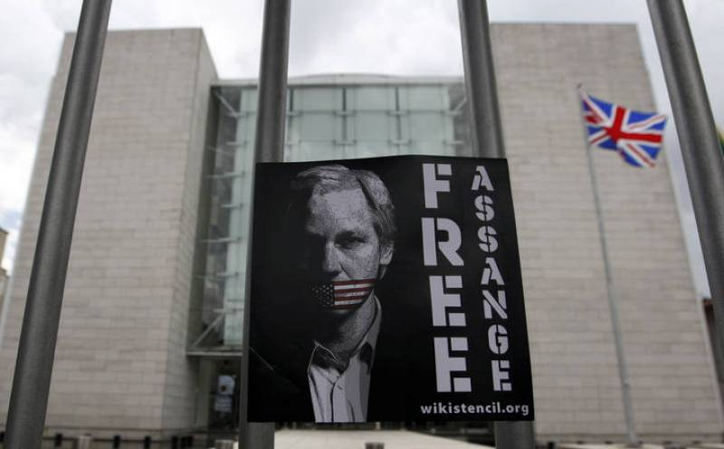 Picture of WikiLeaks founder Julian Assange is seen during a demonstration in front of the British Consulate in Sao Paulo