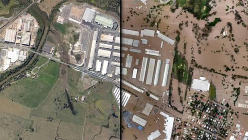 Así estaba Rocklea (Australia) antes de las inundaciones (i) y después (d)