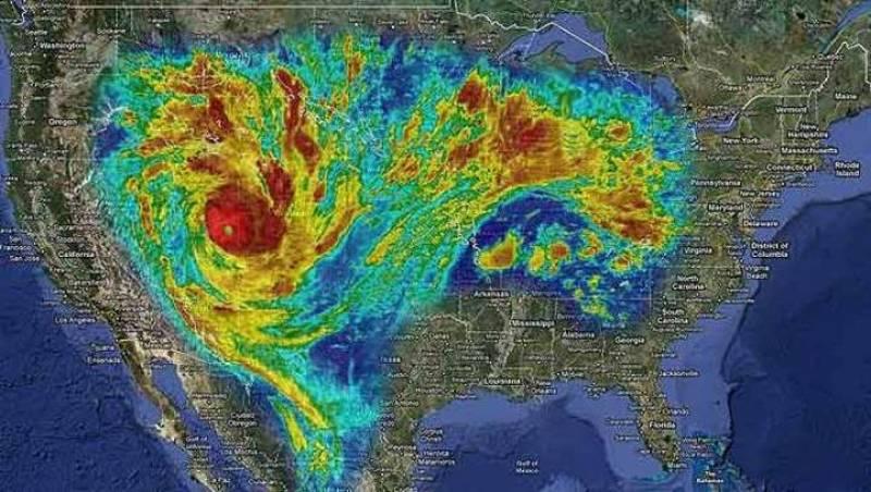Proyección del ciclón Yasi, que afecta Australia, sobre Estados Unidos: cubriría casi todo el país