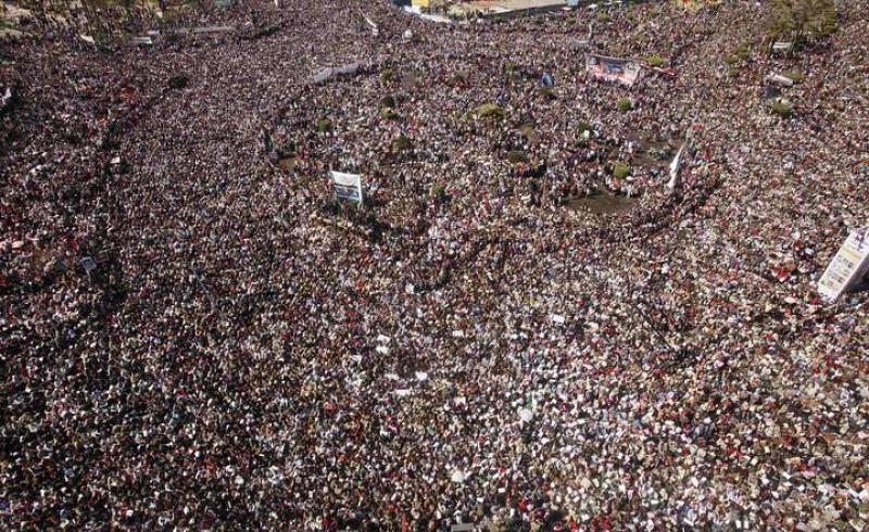 Multitudinaria concentración en la plaza Tahrir para celebrar la 'Marcha de la victoria'