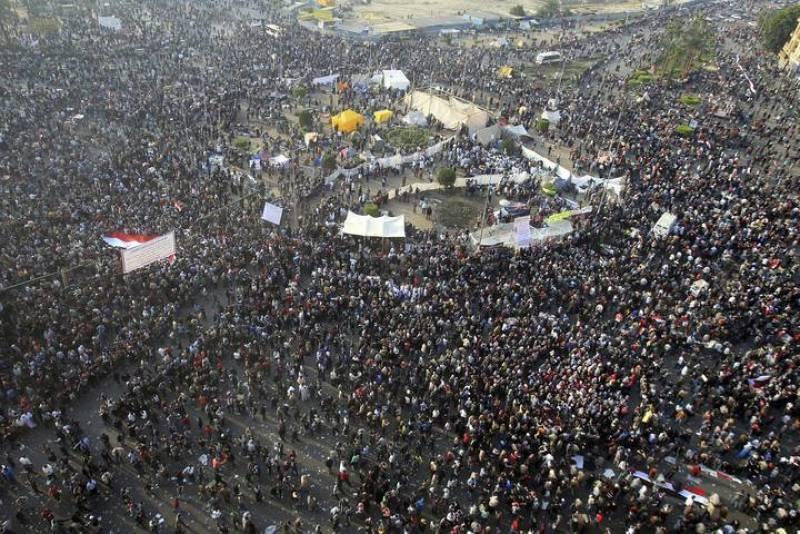 Vista general de los manifestantes en la Plaza Tahrir de El Cairo