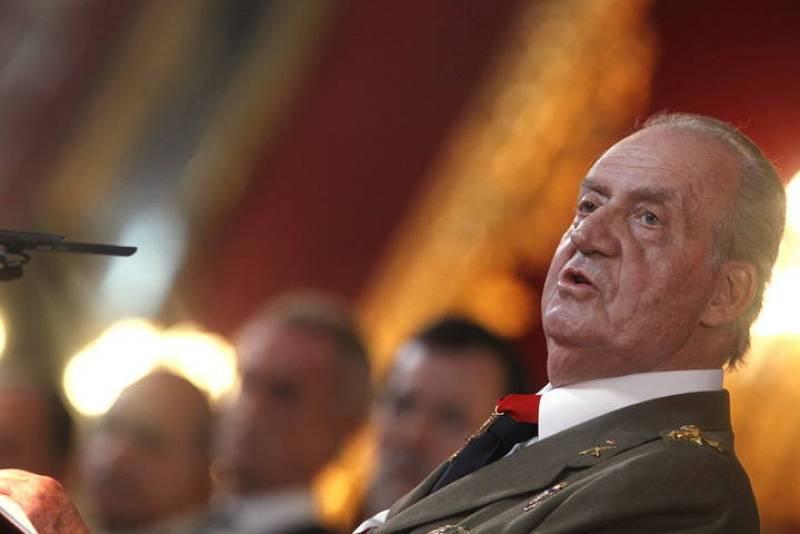 El rey Juan Carlos durante su intervención en los actos de la Pascua Militar .