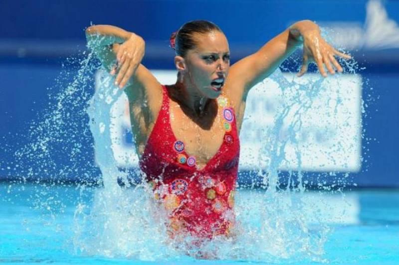 Gemma Mengual, durante los Mundiales de Natación de Roma 2009.
