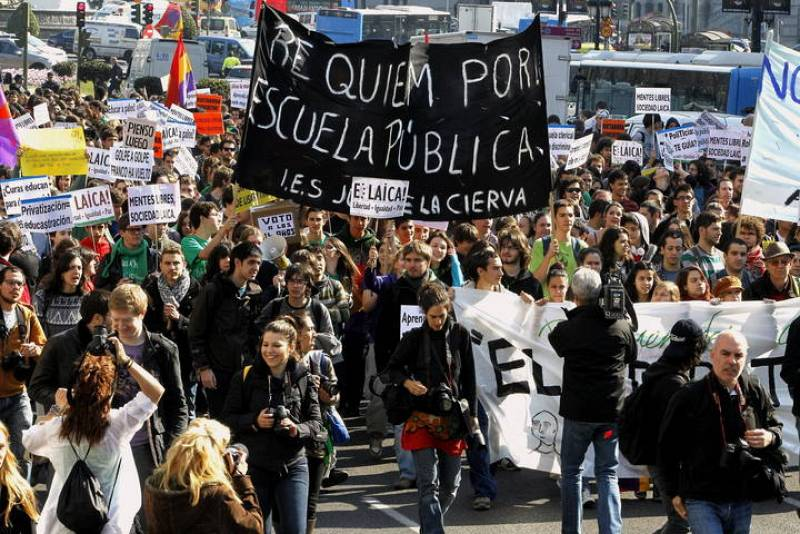 Protesta contra los recortes en educación