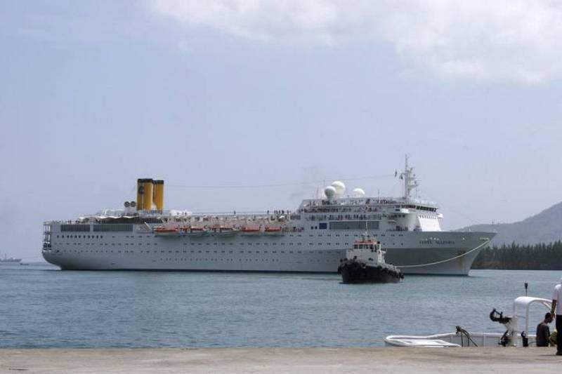 El crucero Costa Allegra llega al puerto de Victoria en Mahé, capital de Seychelles