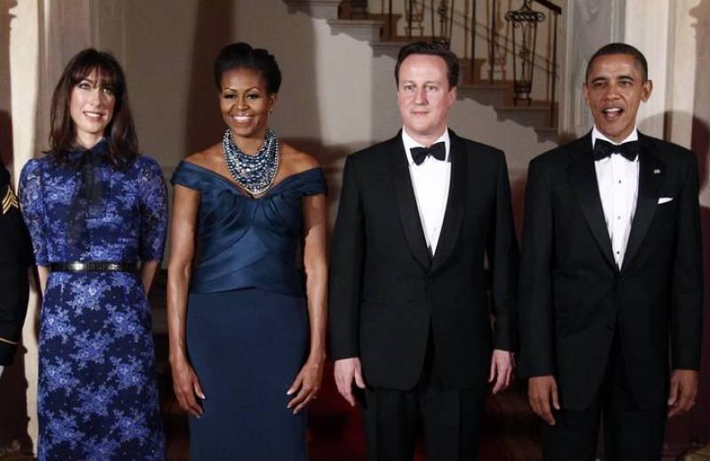 El presidente de EE.UU., Barack Obama, y su esposa, Michelle, reciben en la Casa Blanca al primer ministro británico, David Cameron, y a su esposa Samantha