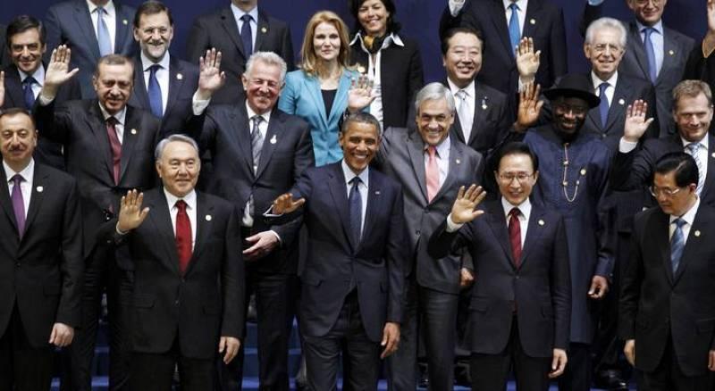 Foto de familia de los mandatarios internacionales en la Cumbre de Seúl