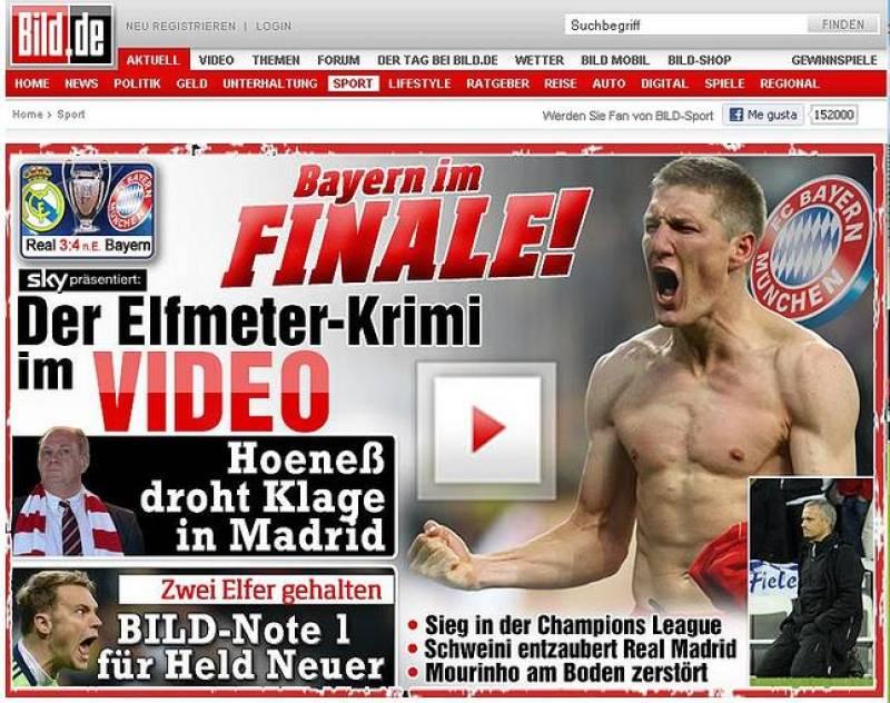 """El tabloide Bild titula """"El sueño del Bayern es realidad"""" y comenta que la victoria del Bayern """"es también un triunfo sobre nuestra pesadilla española."""