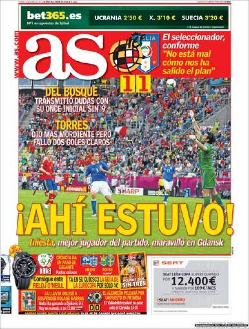 """""""¡Ahí estuvo!"""", titula la portada el diario AS con foto de una ocasión de Torres"""
