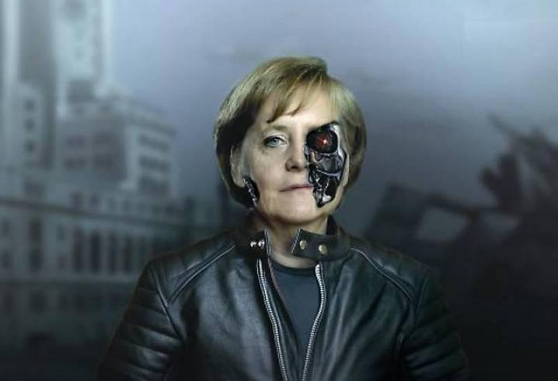 """""""La manía de Merkel por la austeridad está destrozando Europa"""" titula la revista británica New Statesman, que presenta a la canciller como Terminator."""