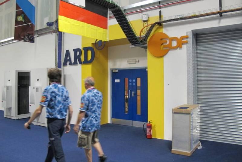 Acceso a la instalación de la televisión alemana en el IBC de Londres