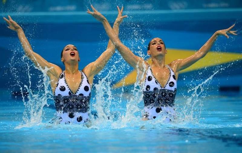 El dúo español de sincronizada durante su primera prueba en Londres