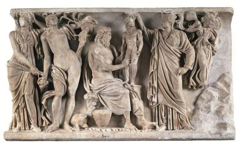 Relieve sepulcral con Prometeo y Atenea creando al primer hombre. Hacia 185 dC.