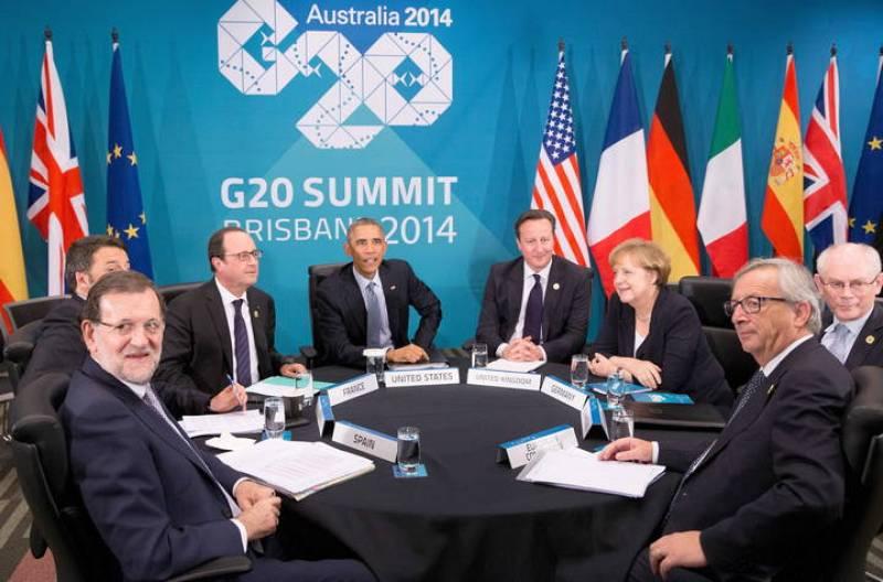 De izda. a drcha., Rajoy, Renzi, Hollande, Obama, Cameron, Merkel, Rompuy y Juncker en el G20 en Brisbane