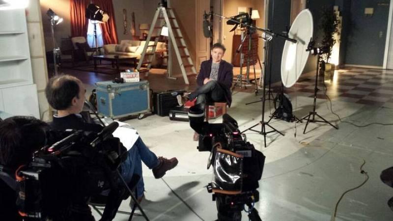 Durante el rodaje del reportaje sobre Jos� Mota