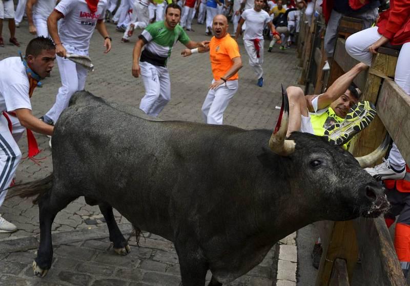 Uno de los toros de José Escolar ha embestido contra varios mozos a lo largo del recorrido