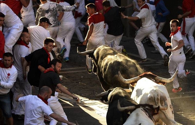 Los toros de Garcigrande corren por segunda vez en los encierros pamplonicas